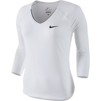 Nike Women Court Pure 3/4 Sleeve Performance Top White/Black