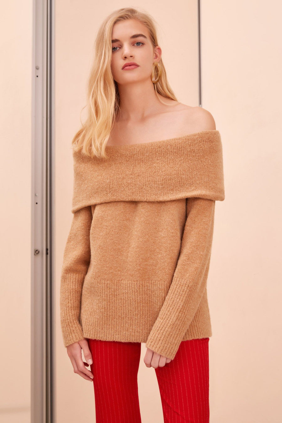 C/MEO COLLECTIVE - Regular Touch Knit Jumper - Bone