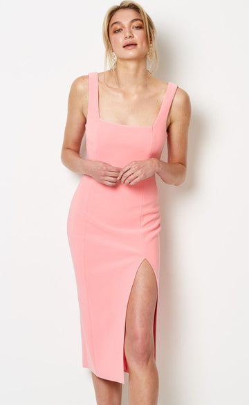 BEC & BRIDGE - Hibiscus Islands Midi Dress - Flamingo Pink
