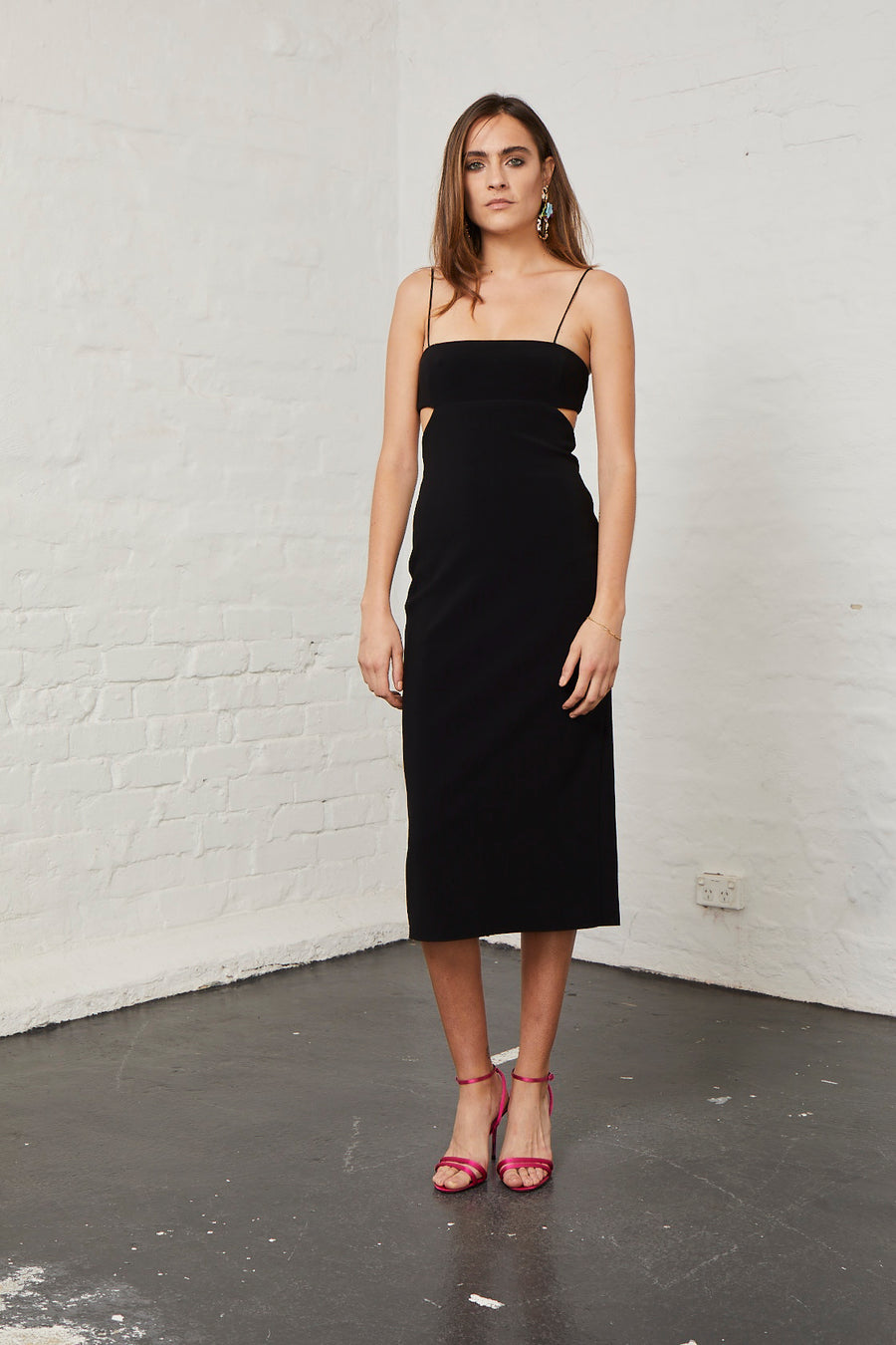BEC & BRIDGE - Elle Cut Out Midi Dress - Black