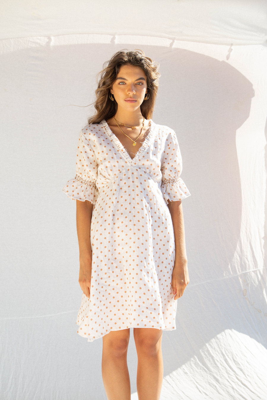 KINGA CSILLA - Spot Linen Tea Dress