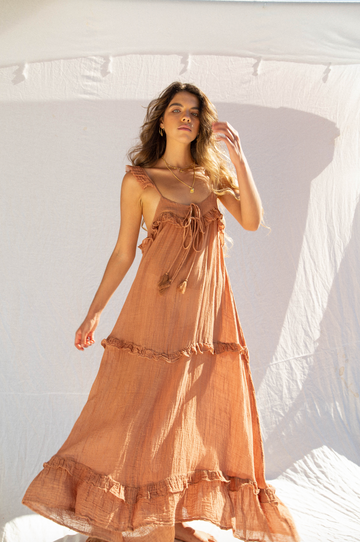 KINGA CSILLA - Dunes Cotton Muslin Sun Dress - Terracotta
