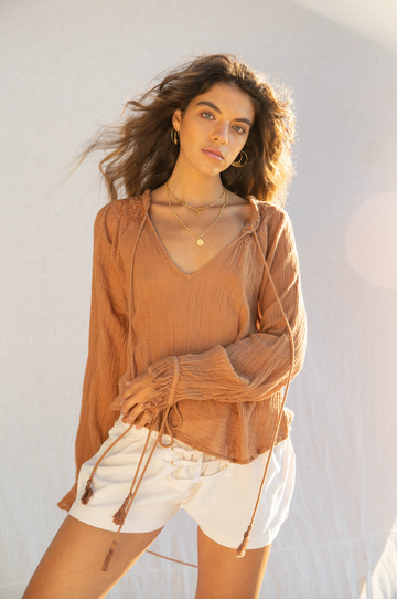 KINGA CSILLA - Dunes Cotton Muslin Blouse - Terracotta