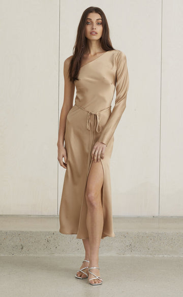 BEC & BRIDGE - CLASSIC ONE SHOULDER DRESS - CAMEL