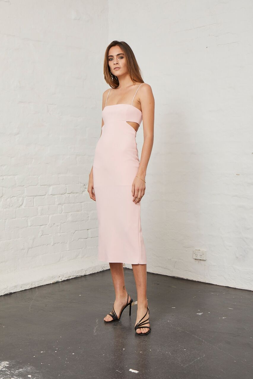 BEC & BRIDGE - Elle Cut Out Midi Dress - Light Blush