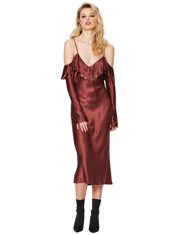 BEC & BRIDGE - Liquid Envy Flounce Dress - Mahogany