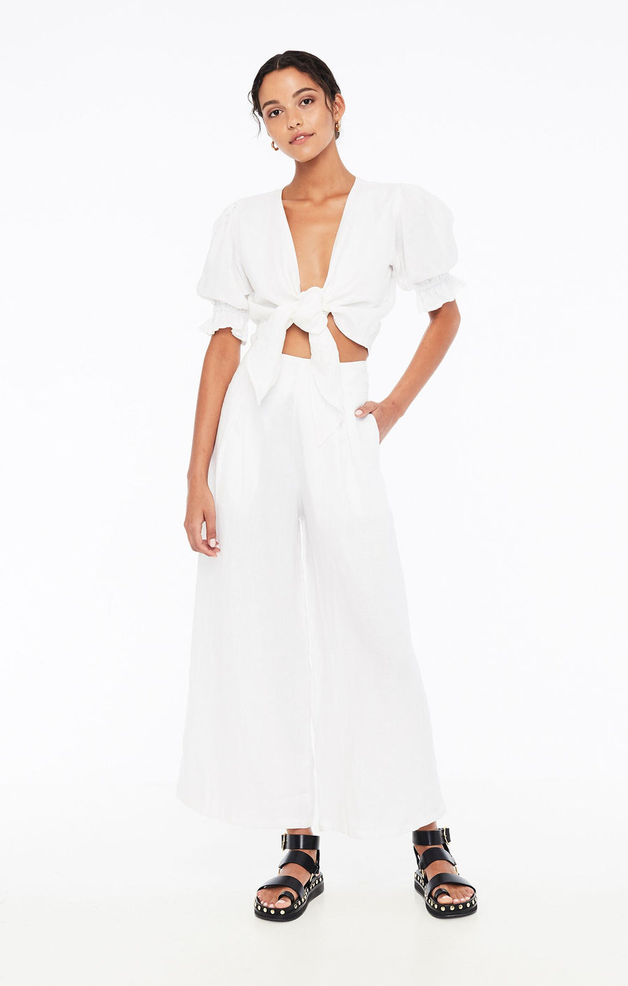FAITHFULL THE BRAND - MERIDAN WIDE LEG PANT - WHITE
