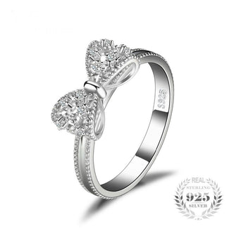 925 Sterling Silver Bow Anniversary Wedding Ring For Women