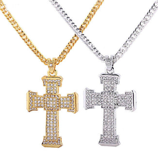 Trendy Crystal Cross Pendant Necklace