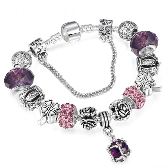 European Style Vintage Silver plated Crystal Charm Bracelet for Women