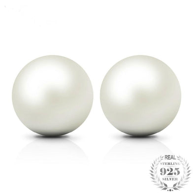925 Sterling Silver Freshwater Cultured Pearl Button Ball Stud Earrings
