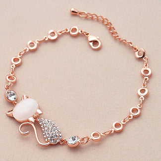 FREE Rose Gold Cute Zircon Cat Bracelet - JUST PAY SHIPPING