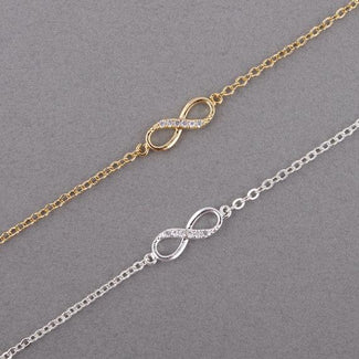 Infinity Number 8 Chain Bracelets for Women with Crystal Stones