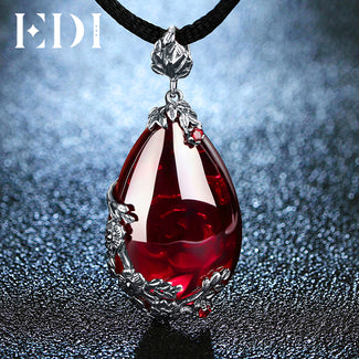 Royal Garnet Chalcedony Pendant Necklace