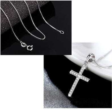 Silver Cross Necklace Pendant Fashion Elegant Sterling-silver-jewelry For Women Girls