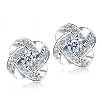925 Sterling Silver Crystal Earrings Knot Flower Stud