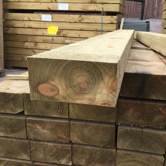 New Green Treated Softwood Railway Sleepers 250mm x 125mm x 2.4m