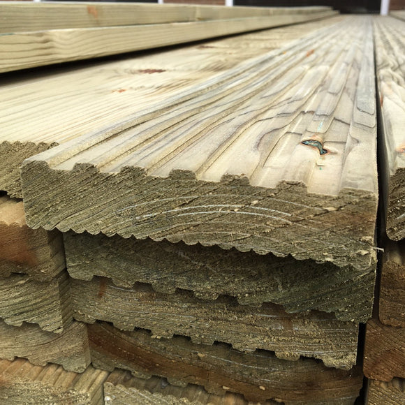 International Treated Decking Board Ex 32mm x 125mm, 4.5m Length