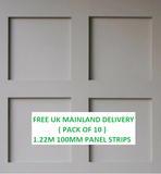10 PACK MDF Wall Panelling Strips 1220mm X 9mm X 100mm *UK MAINLAND DELIVERY INCLUDED*