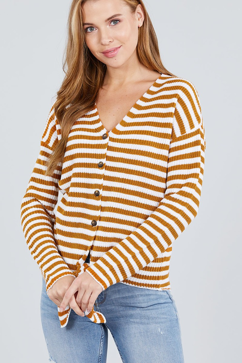 Long Sleeve V-neck W/buttoned Down Front Tie Stripe Cardigan