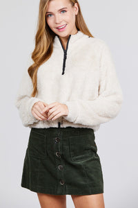 Long Dolman Sleeve Mock Neck W/zipper Detail Toggle Elastic Hem Faux Fur Top