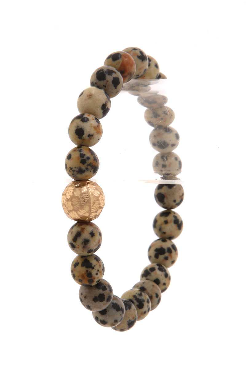 Hammered Metal Ball Beaded Stretch Bracelet