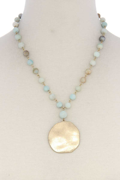 Metal Circle Beaded Short Necklace
