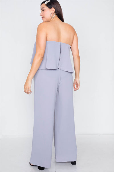 Plus Size Off-the-shoulder Flounce Wide Leg Jumpsuit