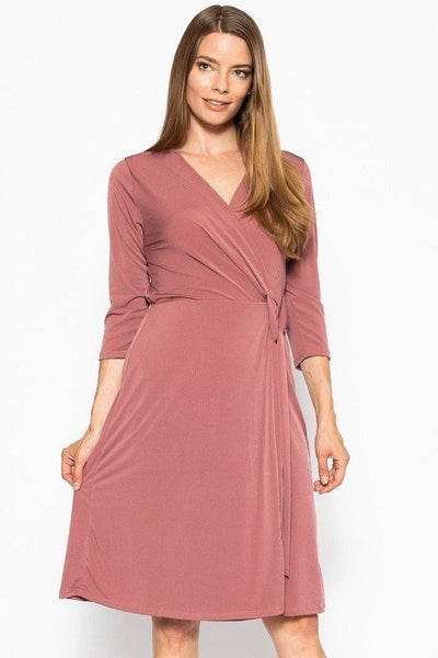 Cute Midi 3/4 Sleeve Dress With A Overlapping V-neck Line And A Belted Waist