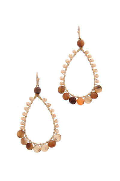 Teardrop Shape Beaded Drop Earring