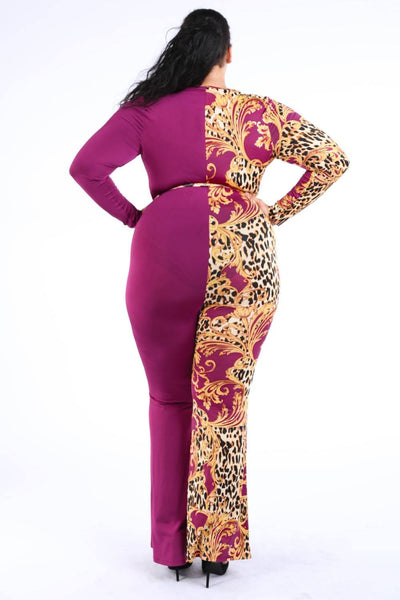 Leopard Paisley Printed Color Blocked Jumpsuit
