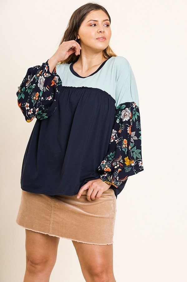 Floral Print Puff Sleeve Round Neck Heathered Top