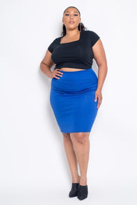 Plus Size Everyday Basic High Waist Pencil Midi Skirt