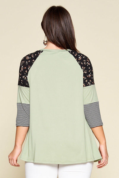 Plus Size Floral And Striped Color Block Sleeves Tunic Top With Side Twist