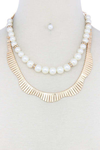 Pearl Metal Layered Necklace
