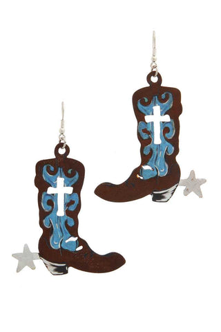 Cut Out Cross Boot Drop Earring