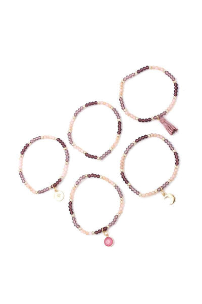 Moon Charm Tassel Stackable Bracelet