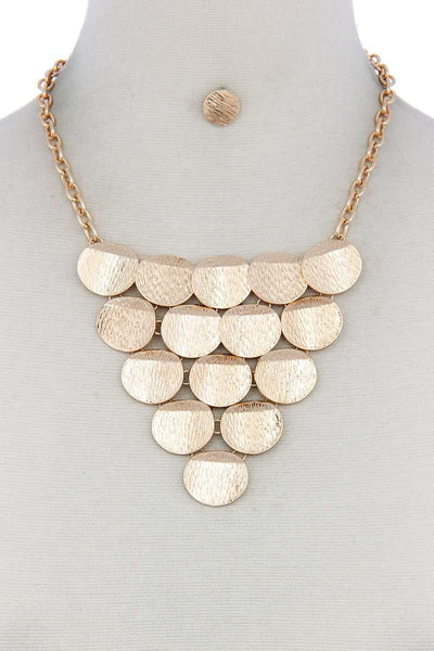 Disc Linked Bib Necklace