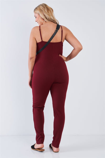 Plus Size Ribbed Knit Button Down Spaghetti Strap Jumpsuit