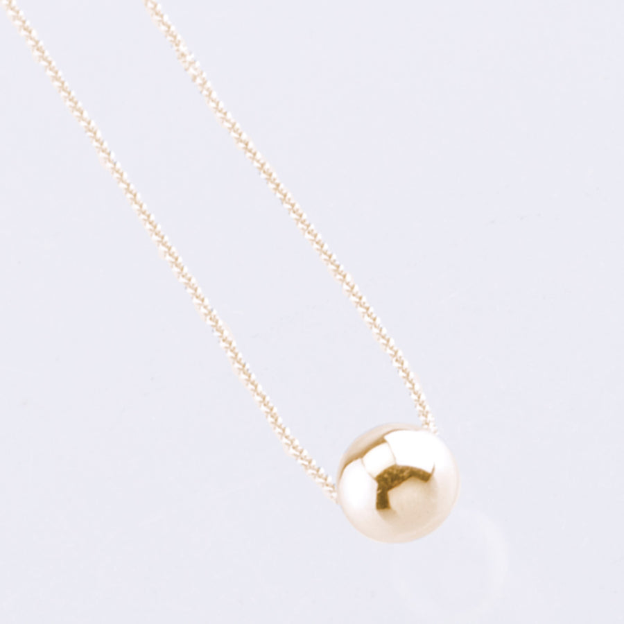 9ct yellow gold solid bead pendant necklace