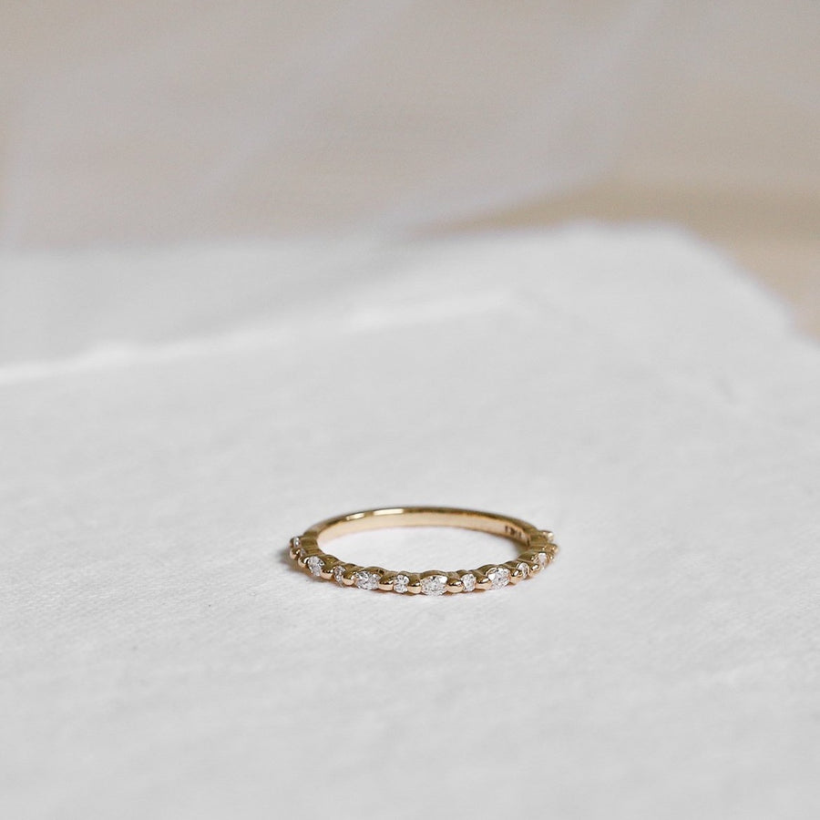 Yellow gold diamond ring with marquise diamonds and round diamonds