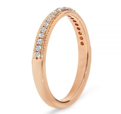 rose gold diamond wedding ring with millgrain edge vintage style