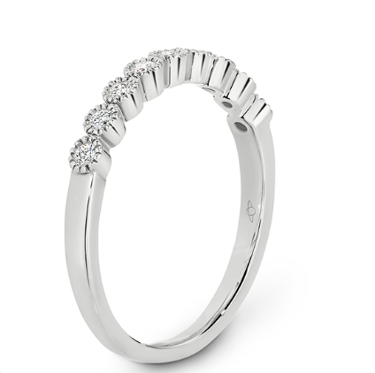 white gold diamond eternity ring with millgrain edge