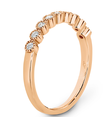 rose gold diamond eternity ring with millgrain edge
