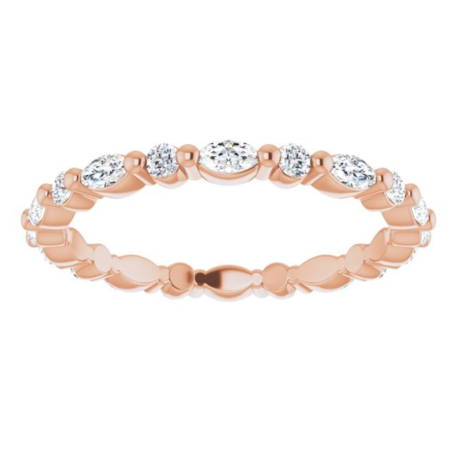 rose gold diamond ring with marquise diamonds and round diamonds