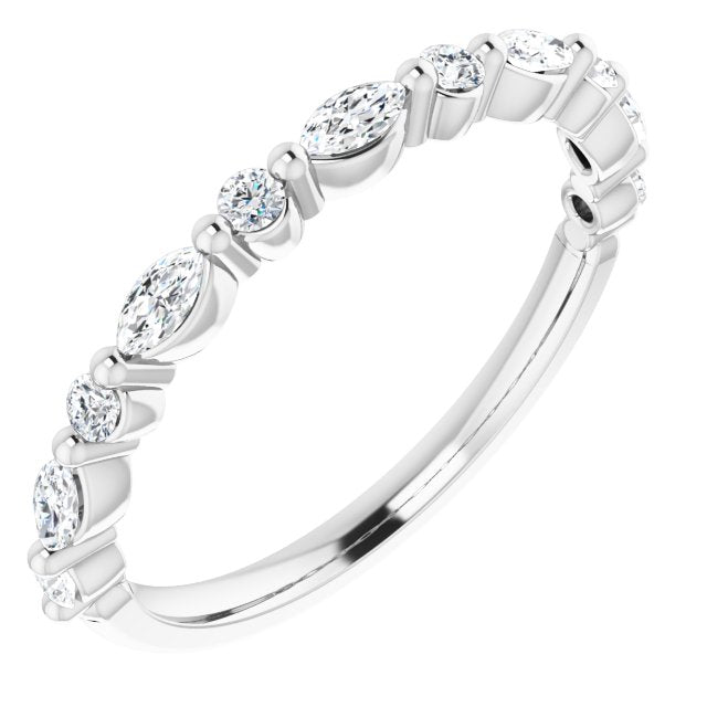 white gold diamond ring with marquise diamonds and round diamonds