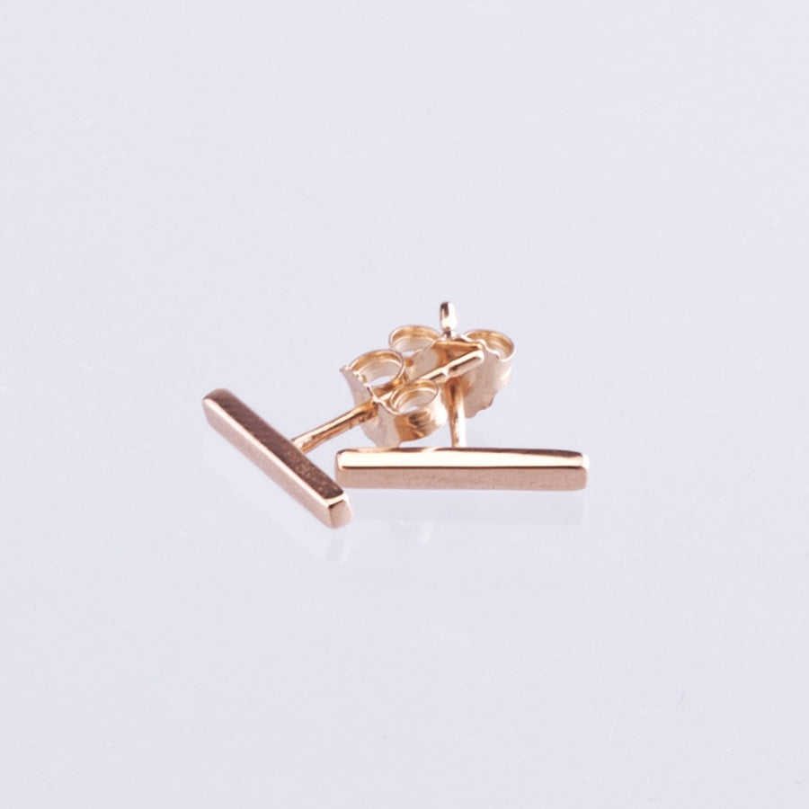 9ct Rose Gold Bar Earrings