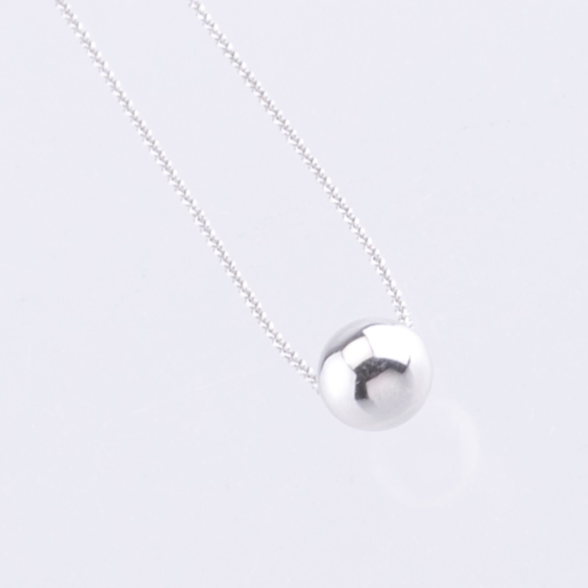 9ct white gold solid bead pendant necklace