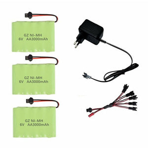 Battery 6v 3000mah NiMH Battery Charger sets For Rc Toys Cars Tank Truck Robots