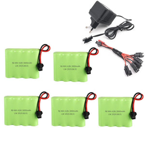 Battery 4.8v 3000mAh Ni-MH AA Battery and Charger For RC Car  Robot  Tank  Gun Boat